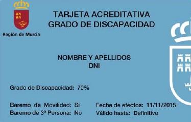 tarjeta acreditativa grado de discapacidad