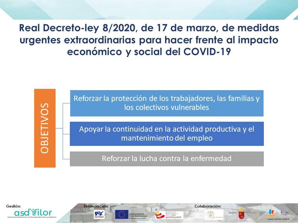 Objetivos Real Decreto-ley 8/2020, de 17 de marzo