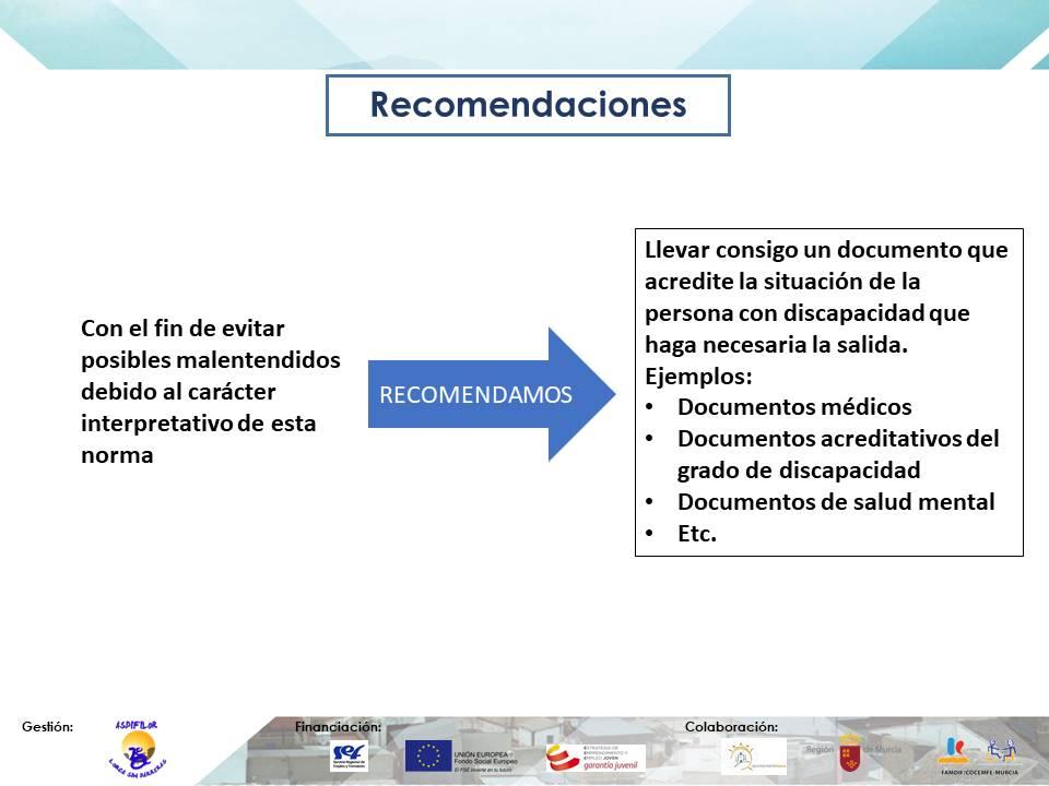 Instrucción 19 de marzo, recomendaciones